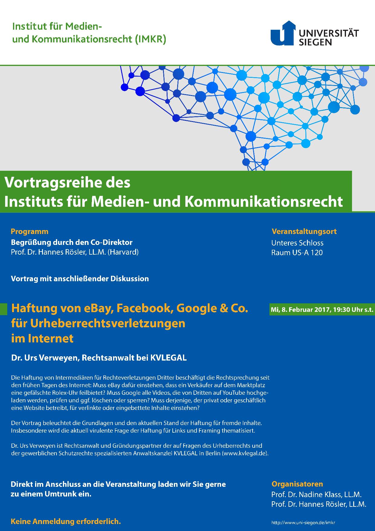 Einladung zum IMKR-Vortrag über eBay, Facebook, Google & Co ...